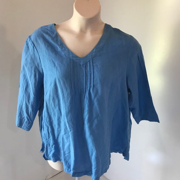 ce499e2f9b Hot Cotton Tops - Hot Cotton 1X Blue Tunic Top Linen Solid Casual